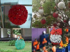 Bola de Natal feita com fundo de garrafas pet.  https://www.facebook.com/BazarArtesanato