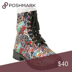 Marvel Superhero Print Women's Combat Boots -SZ 6 New With Tag Marvel Shoes Lace Up Boots