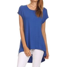 MOA Collection Women's Solid-Color Hi-Lo Scoop-Neck Blouse - 18689350 - Overstock.com Shopping - Top Rated MOA Collection Short Sleeve Shirts