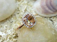 UNIQUE VINTAGE Style Natural Morganite Engagement Ring Gold