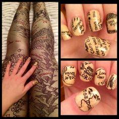 Hobbit Map leggings and nails (leggings from BM)