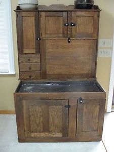 Kitchen household america oak ice box rare small size for 1880 kitchen cabinets