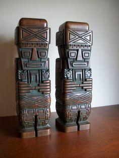 Stunning Pair of 1960s Tiki Statues