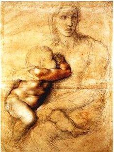 Michelangelo - Madonna col Bambino - 1525 circa - matita nera, matita rossa, biacca e inchiostro - 541 x 396 mm - Casa Buonarroti - Firenze