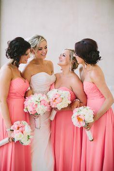 Coral bridesmaids Paula O'Hara Photography | www.endorajewellery.etsy.com