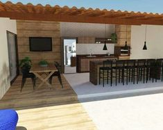 Ideas For Exterior Ideas Diy Patio Outdoor Kitchen Patio, Outdoor Kitchen Design, Diy Patio, Backyard Patio, Outdoor Spaces, Outdoor Living, Outdoor Decor, Living Pool, Rustic Kitchen Design