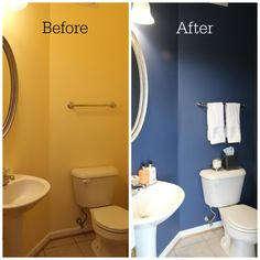 Powder Room paint refresh. Updated our icky yellow bathroom with two coats of BEHR English Channel navy paint.