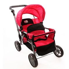 Pink Doll Twin Tandem Stroller with Adjustable Handle