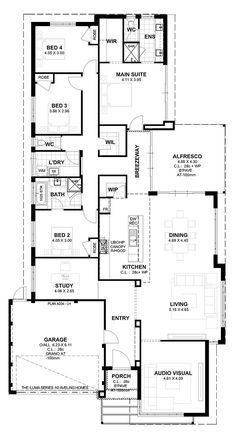 Iluma Series I need one more garage space. Combine the back 2 bed rooms for the boys and more built-ins Best House Plans, Modern House Plans, House Floor Plans, House Ideas, Modern Mansion, Castle House, House Blueprints, Cabins And Cottages, Suites