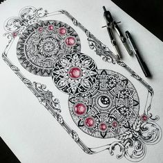 Symmetry Balance and Harmony in Mandala Drawings. By Jody Romero. Mandala Art, Mandala Drawing, Mandala Design, Henna Feather, Geometric Sleeve, Doodle Art, Art Drawings Sketches, Art Projects, Fine Art