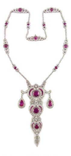 Probably made for Dreicer & Co. New York - A Belle Epoque platinum, ruby and diamond tiered pendant necklace, French, circa 1910.