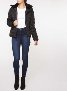 Womens **Tall Black Collar Padded Jacket- Black
