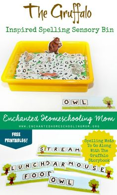 Have some spelling sensory bin hands-on learning fun with the Forest and Woods storybook The Gruffalo by Julia Donaldson. Make sure to grab the FREE instant download to help make this activity come to life! #gruffalo #poppinsbooknook