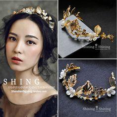 金色宮廷複古新娘結婚發箍頭飾花環巴洛克手工軟皇冠額飾高端飾品