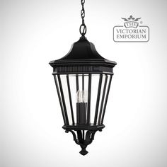 Buy Cotswold Large chain lantern in Black, Exterior ceiling lights - This large chain lantern with classic styling features a traditional aesthetic of this antique gas lantern-inspired...