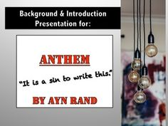 INTRODUCTION TO AYN RAND AND ANTHEM  INCLUDES QUESTIONS AND ANSWERSI recently discovered the Ayn Rand Institute and its FREE book program.  Teachers can order free classroom sets of books.  I ordered Anthem for my class.  It is short and is a dystopian novel much like Hunger Games, Divergent, and Maze Runner. https://www.teacherspayteachers.com/Store/Bridget-Riggs