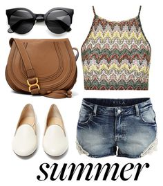"""summer"" by sabina-mehic ❤ liked on Polyvore featuring VILA, Topshop, Charlotte Olympia and Chloé"