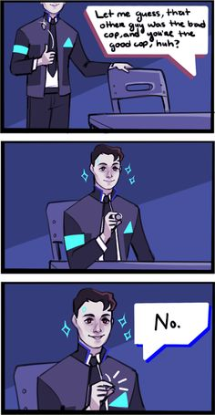 """Detroit: Become Human / Connor is """"Bad"""" Cop Detroit Being Human, Detroit Become Human Connor, Luther, Comic Collage, Quantic Dream, Becoming Human, Funny Memes, Hilarious, Naruto E Boruto"""