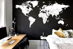 11 feet W Outline countries world map decal