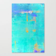 Turquoise and Orange Abstract Art Print on Stretched Canvas by T30 Gallery