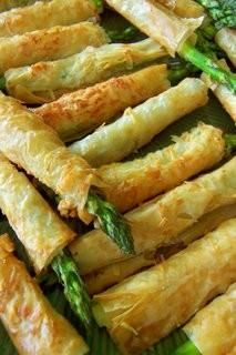 Party Appetizer!-Asparagus Phyllo Appetizers with horseradish caper mustard sauce. Looks delish!