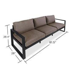 Real Flame Baltic 3 Seat Outdoor Sofa in Black - Starfire Direct Welded Furniture, Iron Furniture, Steel Furniture, Sofa Furniture, Pallet Furniture, Furniture Design, Furniture Ideas, Office Furniture, Repurposed Furniture