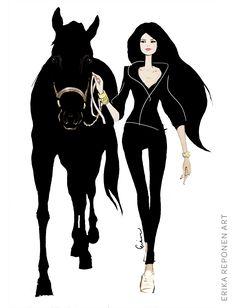 Fashion illustration by Erika Reponen. Girl with horse. Illustration, Print Design, Fashion Illustration, Art, Character