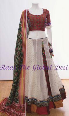 CHANIYA CHOLI 2018 Silk Chania with designer brocade blouse and contrast dupatta Gharara Designs, Choli Designs, Lehenga Designs, Blouse Designs, Indian Fashion Dresses, Indian Gowns, Indian Designer Outfits, Indian Designers, Fashion Clothes