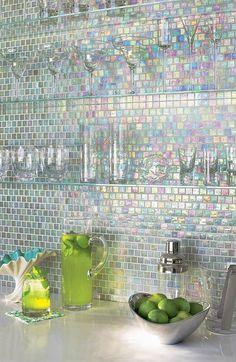 Iridescent mosaic kitchen