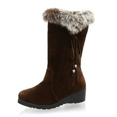 Boots - $38.99 - Suede Flat Heel Mid-Calf Boots Snow Boots With Fur shoes http://www.dressfirst.com/Suede-Flat-Heel-Mid-Calf-Boots-Snow-Boots-With-Fur-Shoes-088040775-g40775