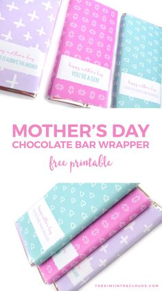 Come give your mom the one thing you know she'll always want: chocolate! And do it in style with these free printable chocolate bar wrappers.
