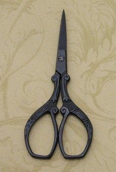 "3 1/2"" Matt Black Ornate Scissors Special - $10.00"