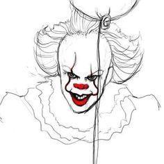 #drawing #sketch #pennywise #pennywisetheclown #clown #it #stephenkingsit #red #weallfloatdownhere #art #horror