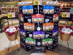 Perry tells us that your in-store displays need to be big enough to attract attention. He suggests arranging the display based on the colors of the packaging and create vertical or horizontal blocks. We have provided a variety of photos to illustrate Big, Colorful and Simple.