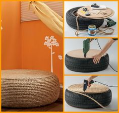 Making an ottoman is cheap and easy by repurposing an old tyre! View the full album of this project to learn how it's made now at http://theownerbuildernetwork.co/ia1t Got old tyres you can repurpose for this project?