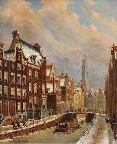 Oene Romkes de Jongh - Winters stadsgezicht op een gracht met op de achtergrond de Zuiderkerk te Amsterdam