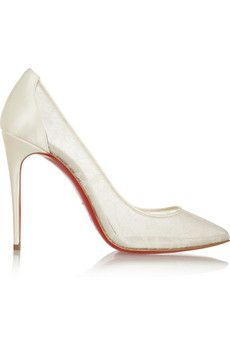 Christian Louboutin Pigalace 100 satin and lace pumps | NET-A-PORTER 795.00