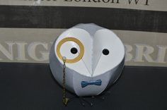 monocled barn owl sculpture, paper sculpture, groom, wedding cake topper, father of the bride, groomsmen gift, fathers day gift, best man