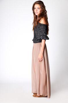 long pink skirt + gray sweater
