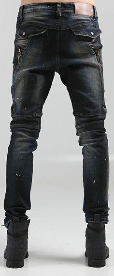 Men's denim Korean fashion pants, back