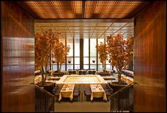 The Pool Room at the Four Seasons Restaurant in NY. Interior by Philip Johnson in the amazing Seagram Building by Mies van der Rohe. Via Gourmet Live