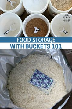Food Storage With Buckets 101 - Something that anyone who is serious about getting food storage needs to think about, because if you're investing your time and money into food, you want to make sure you're storing it properly. Emergency Preparedness Food, Prepper Food, Emergency Food Storage, Emergency Preparation, Survival Food, Survival Prepping, Survival Skills, Wilderness Survival, Survival Quotes