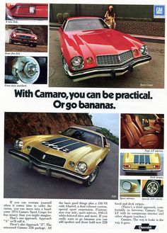 1974 Chevrolet Camaro Advertising Road & Track March 1974
