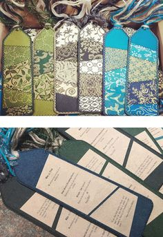 Beautiful custom handmade bookmarks used as invitations for Mike and Trini's wedding