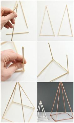 Trying to figure out how to style your shelves? Make these DIY geometric triangle sculptures out of skewers hot glue and spray paint. Spray them white gold copper or whatever color suits your decor! An easy project with super high end look. Diy Home Decor Projects, Diy Home Crafts, Easy Projects, Decor Crafts, Decor Ideas, Diy Ideas, Design Projects, Craft Ideas, Bedroom Crafts
