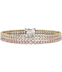 Three brilliant rows of graduated round diamonds, set in white, yellow, and rose gold, makes this tennis bracelet a stellar choice for the jewelry lover in your life. Diamond Bracelets, Cartier Love Bracelet, Crystal Bracelets, Diamond Jewelry, Jewelry Bracelets, Bangle Bracelet, Bangles, Modern Jewelry, Fine Jewelry