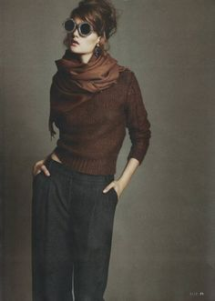 Grey tweed trousers, brown knit sweater, brown pashmina scarf