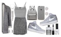 """grey mini skirt"" by tallfashionesta ❤ liked on Polyvore featuring Topshop, NIKE, Bebe, Dinh Van, River Island, Gucci, MAC Cosmetics, grey and greyminiskirt"