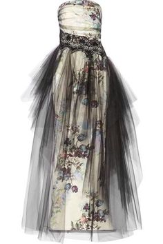 Floral-print tulle and faille gown #blacktiedress #blacktie #women #covetme