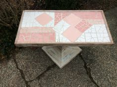 Modern Coffee Table - Pink Tile Table- Hand Painted Table - Mid Century Modern Table - Modern Swivel Table - One of a Kind Pink Tile Table by DareToBeVintage on Etsy